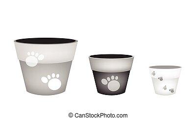 Set of Terracotta Flower Pots on White Background