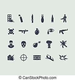 Set of terrorism icons