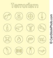 Set of terrorism simple icons
