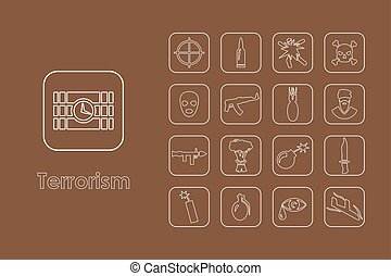 Set of terrorism simple icons