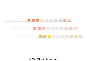 Set of test strips - Three colored test strips for ...