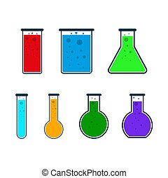 Set of test tube icons. Vector Illustration.