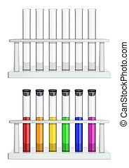 Set of test tubes in racks. Test tubes empty and filled with multi-colored liquid. Special laboratory equipment for medicine, pharmacy, biology and chemistry. Vector