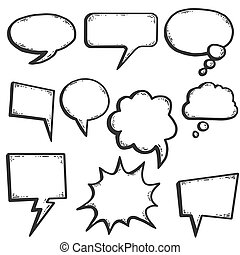 Set of text bubbles. Sketch scratch board imitation. Black and white. Engraving vector illustration.