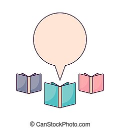 set of textbooks with speech bubble
