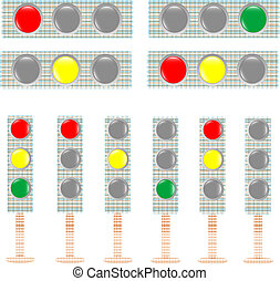 set of textile Traffic light isolated on white background. vector illustration