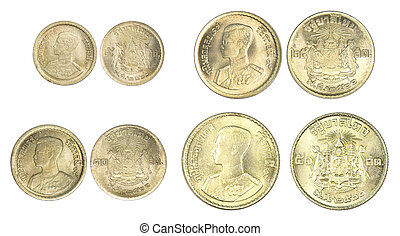 Set of Thailand satang coin isolated on white background.