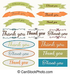 Set of Thank You stickers, badges, ribbons and tags. Design elem