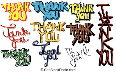 Set of thank you words.