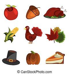 Set of Thanksgiving Day: Apple, Acorn, Turkey, Corn, Hat, Pumpkin pie, Leaf icon. Cartoon style.