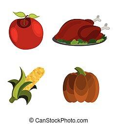 Set of Thanksgiving Day: Apple, Turkey, Corn, Pumpkin icon. Cartoon style. Vector Illustration