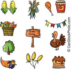 Set of thanksgiving doodle vector art