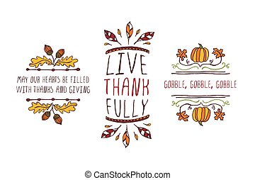 Set of Thanksgiving elements and text on white background -...