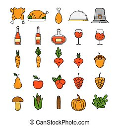 Set of thanksgiving icons in cartoon style.