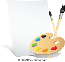 The set of the artist vertical paper palette brushes