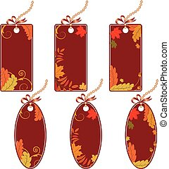 set of the autumnal price tags