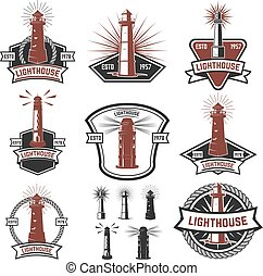 Set of the badges with lighthouses. Design elements for logo, la