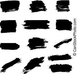 Set of the brush strokes isolated on white background. Design element for poster, banner, card, emblem. Vector illustration