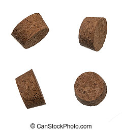 Set of the cork bungles isolated over white