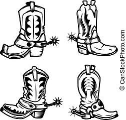Set of the cowboy boots illustrations. Design elements for logo,