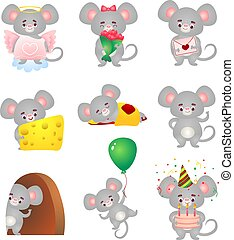 Set of the cute grey mouse in different situations. Vector illustration in flat cartoon style.
