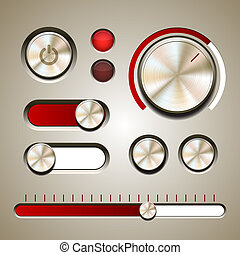 Set of the detailed UI elements with knob, switches and ...