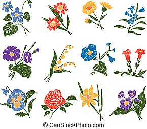 set of the different flowers