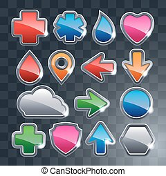 Set of the different icons.