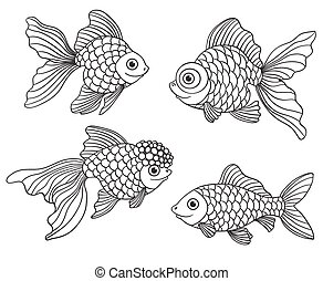 Set of the different linear goldfishes. Vector illustration....