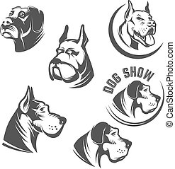Set of the dog heads icons isolated on white background. Images