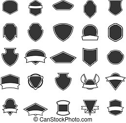 Set of the empty emblems isolated on white background. Design el