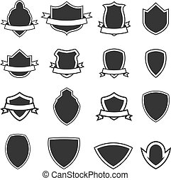 Set of the empty emblems templates isolated on white background.