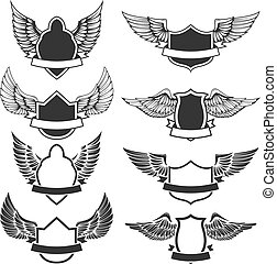 Set of the empty emblems with wings. Design elements for logo, label, badge, sign. Vector illustration