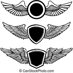 Set of the empty emblems with wings. Design elements for logo, l