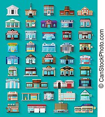 Set of the flat city buildings and shops. Vector EPS10 illustration.