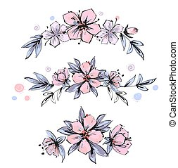 Set of the floral arrangements. Pink apple tree flowers with leaves. Vector romantic garden flowers.
