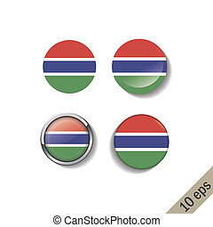 Set of THE GAMBIA flags round badges.