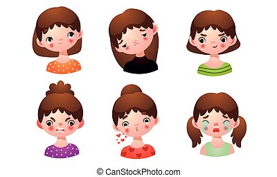 Set of the girl with different facial expressions. Vector illustration in flat cartoon style.