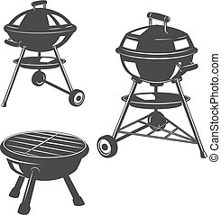 Set of the grills isolated on white background. Design elements