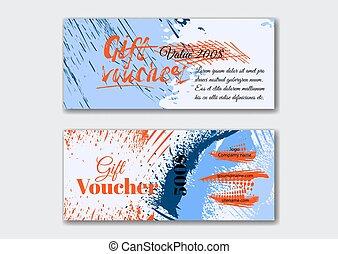 Set of the grunge gift voucher templates.