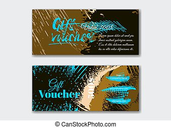 Set of the grunge gift voucher templates.