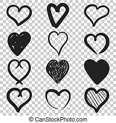 Set of the hand drawn hearts vector icon. Love sketch doodle heart illustration. Handdrawn valentine concept on isolated transparent background.