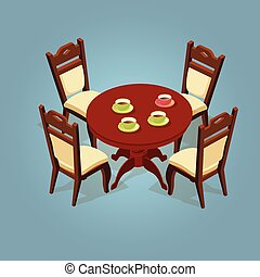 Set of the isometric cartoon table and four chairs.
