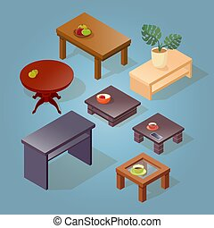Set of the isometric cartoon table.
