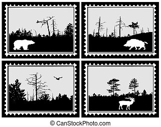 set of the marks on white background, vector illustration
