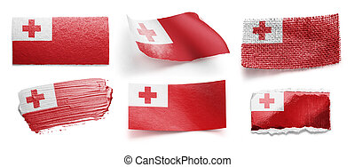Set of the national flag of Tonga on a white background
