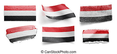 Set of the national flag of Yemen on a white background