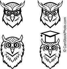 Set of the owl heads isolated on white background. Vector illustration