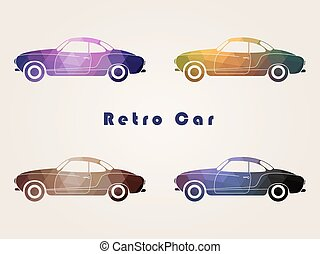 Set of the retro car