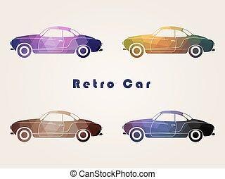 Set of the retro car